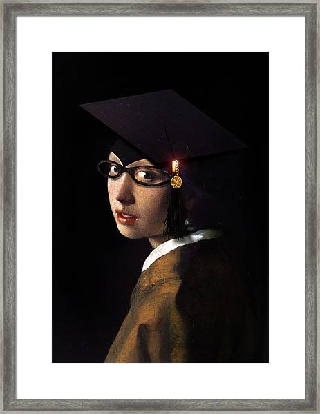 Girl With The Grad Cap Framed Print