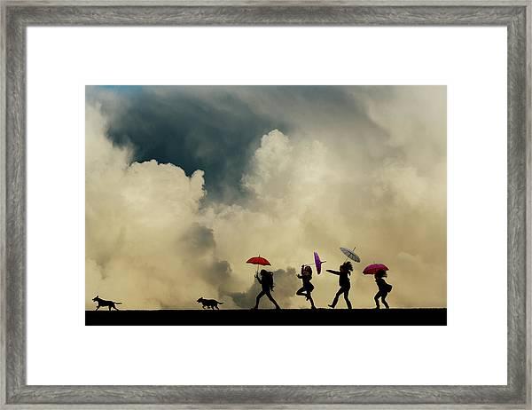 Girls Going On A Bear Hunt Framed Print