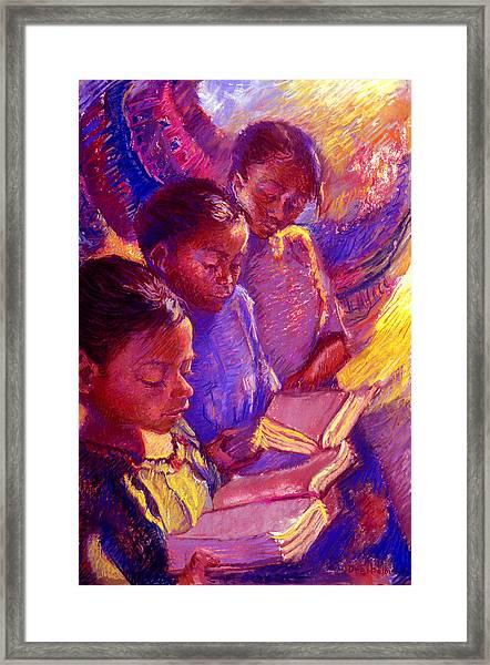 Girls Reading Framed Print