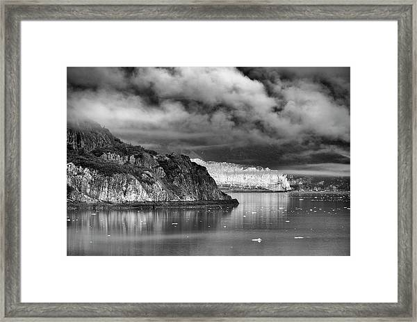 Glacier Bay Alaska In Bw Framed Print