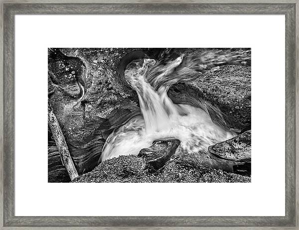 Glacier National Park's Avalanche Gorge In Black And White Framed Print