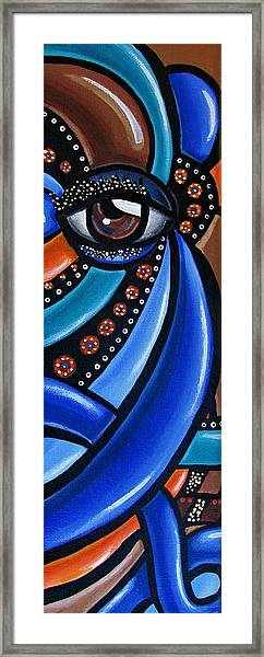 Abstract Eye Art Acrylic Eye Painting Surreal Colorful Chromatic Artwork Framed Print