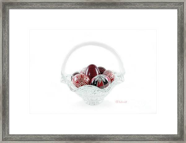 Glass Basket Full Of Eggs Framed Print