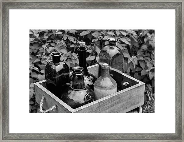 Glass Bottles In The Garden Framed Print