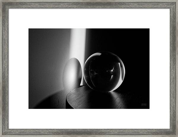 Glass Sphere In Light And Shadow Framed Print