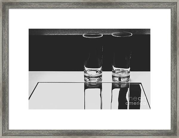 Glasses On A Table Bw Framed Print