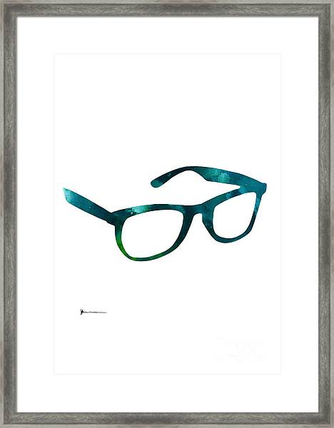 Glasses Silhouette  Watercolor Art Print Poster Framed Print