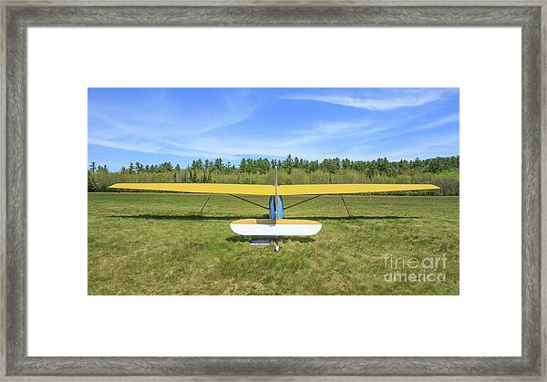 Glider Plane At Rural Airport Framed Print