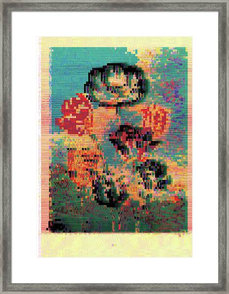 Glitched Tulips Framed Print