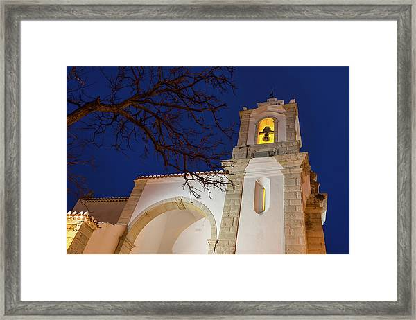 Gloriously Lit Blue Hour - Igreja De Santo Antonio In Lagos Portugal Framed Print