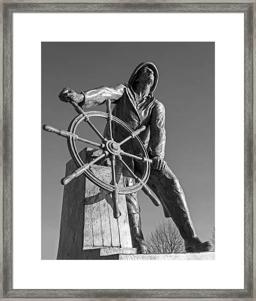 Gloucester Fisherman's Memorial Statue Black And White Framed Print