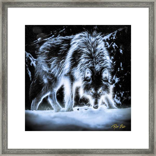 Glowing Wolf In The Gloom Framed Print