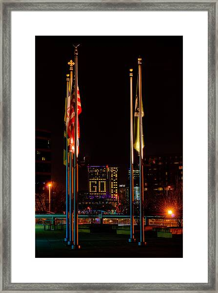 Go Ravens With Flags Framed Print