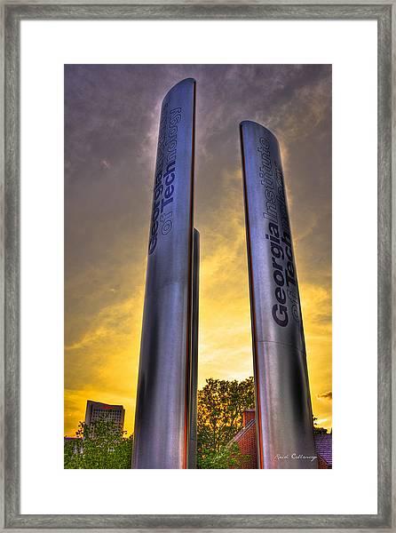 Go Tech Georgia Tech Sunset Art Framed Print