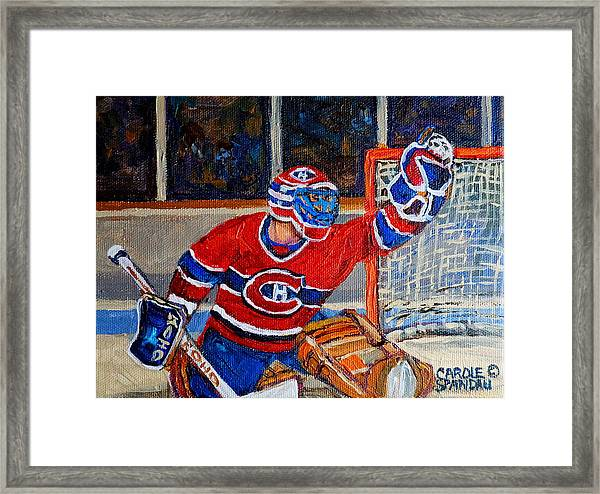 Goalie Makes The Save Stanley Cup Playoffs Framed Print