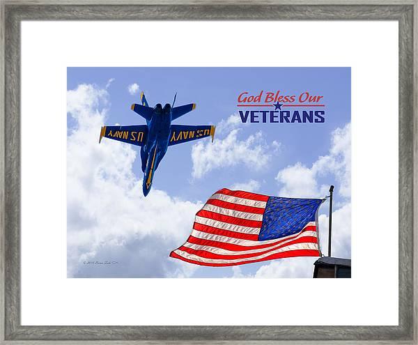 God Bless Our Veterans Framed Print