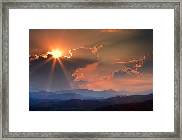 God Rays Over N C  Mountains Framed Print