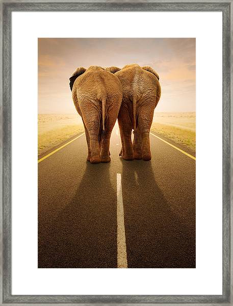 Going Away Together / Travelling By Road Framed Print