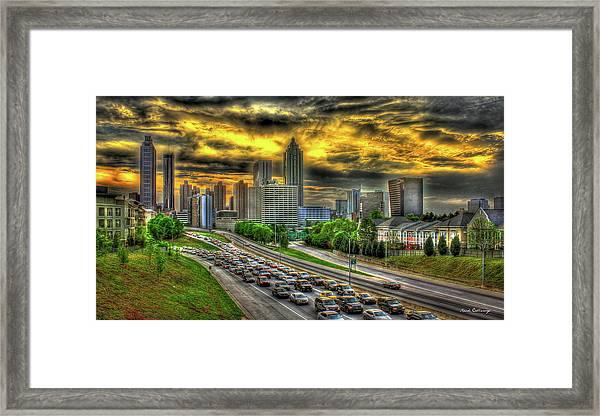Going Nowhere Fast Atlanta Downtown Sunset Art Framed Print