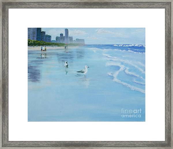 Framed Print featuring the painting Gold Coast Australia, by Genevieve Brown