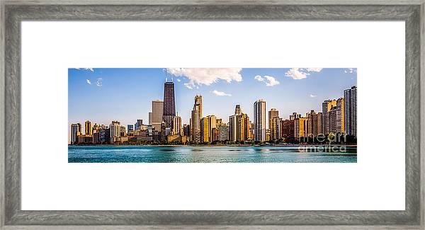 Gold Coast Chicago Skyline Panorama Framed Print