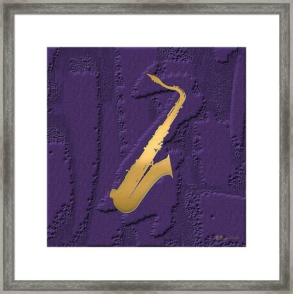 Gold Embossed Saxophone On Purple  Framed Print
