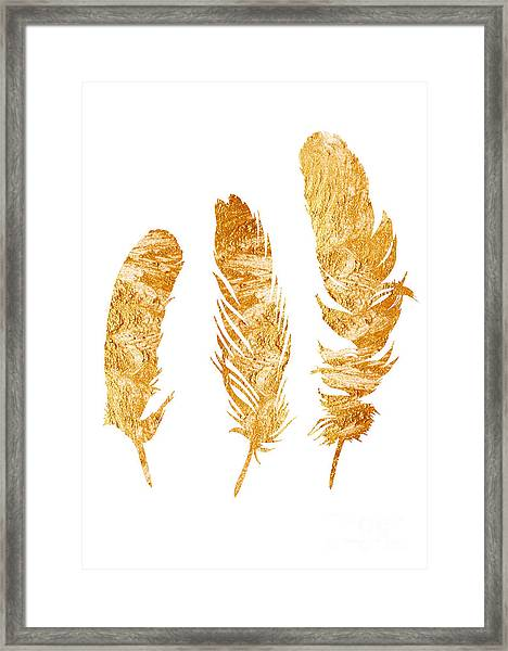 Gold Feathers Watercolor Painting Framed Print