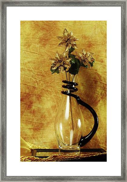 Gold Flowers In Vase Framed Print