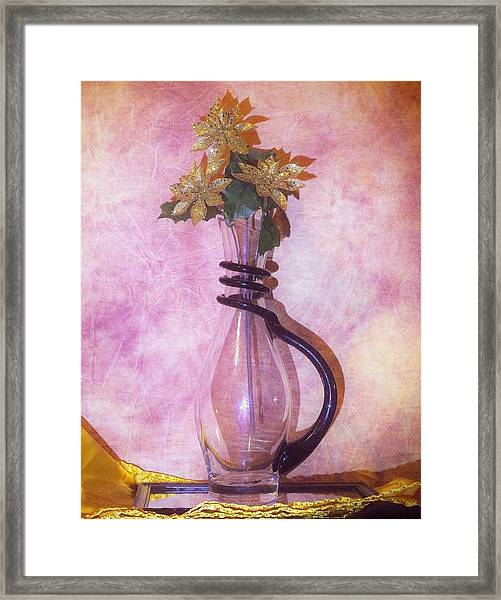Gold On Pink Flowers Framed Print