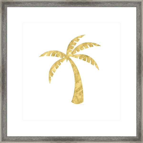 Gold Palm Tree- Art By Linda Woods Framed Print