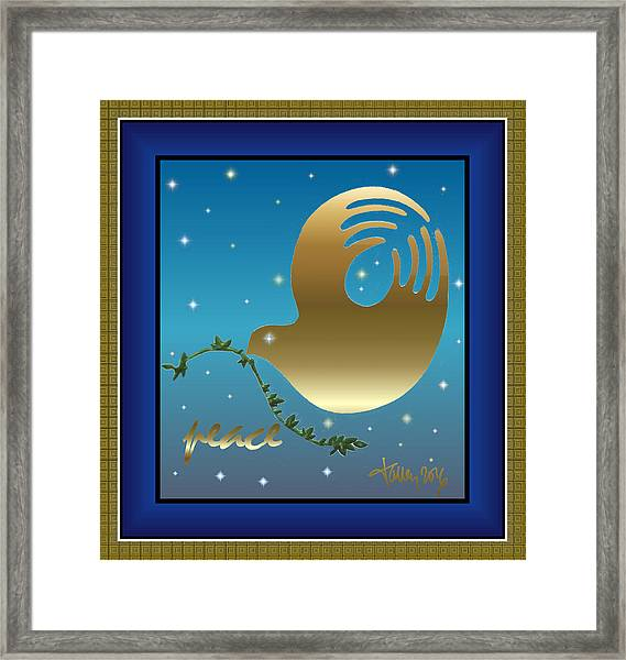 Framed Print featuring the digital art Gold Peace Dove by Larry Talley