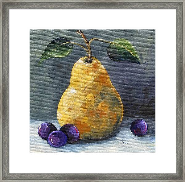 Gold Pear With Grapes II  Framed Print