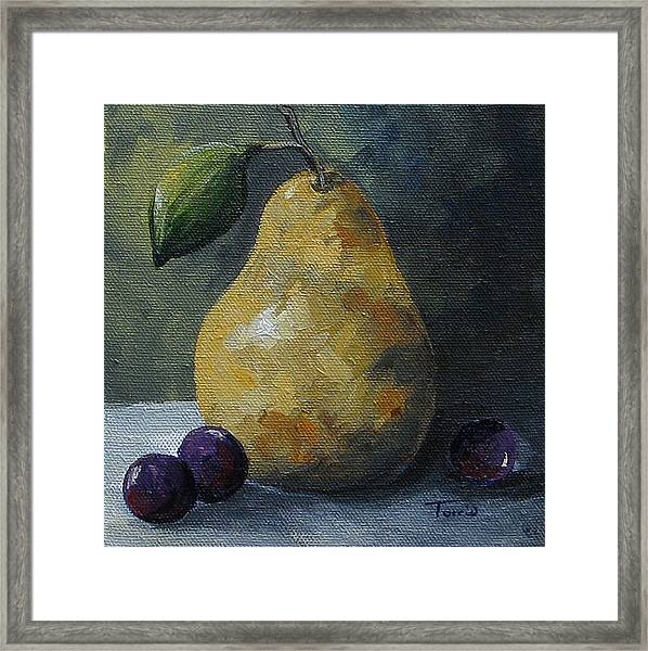 Gold Pear With Grapes  Framed Print