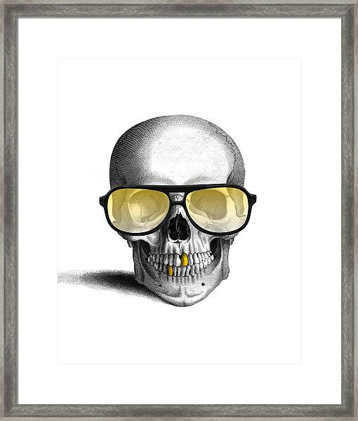 Skull With Gold Teeth And Sunglasses Framed Print