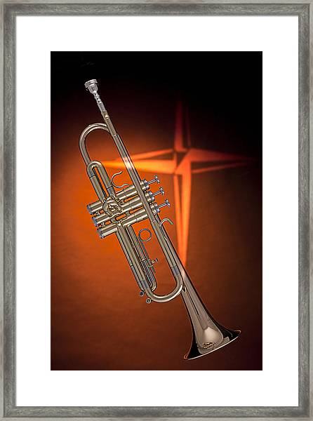 Gold Trumpet With Cross On Orange Framed Print