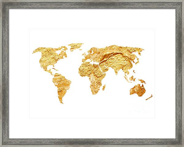 Gold World Map Watercolor Painting Framed Print