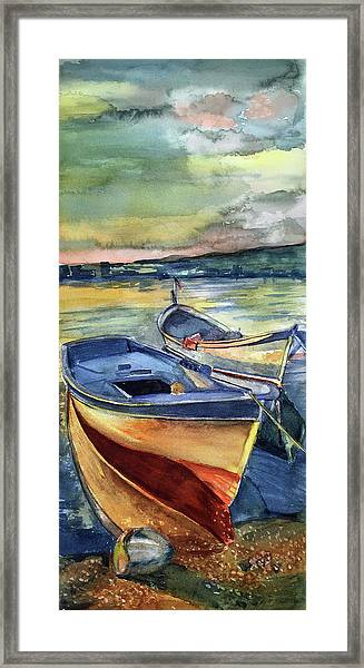 Golden Boats Framed Print