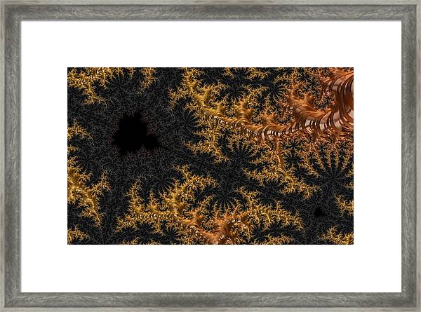 Golden Branching Moss Framed Print