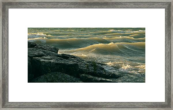 Golden Capped Sunset Waves Of Lake Michigan Framed Print