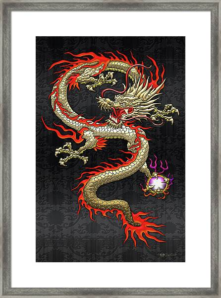 Golden Chinese Dragon Fucanglong On Black Silk Framed Print