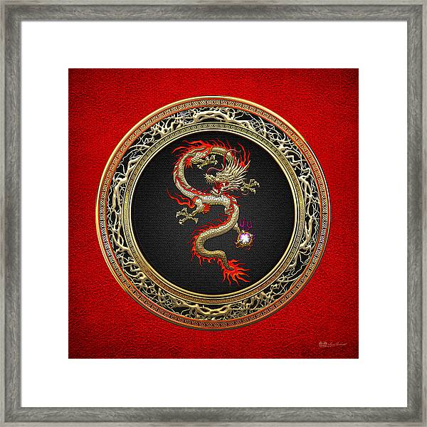 Golden Chinese Dragon Fucanglong On Red Leather  Framed Print