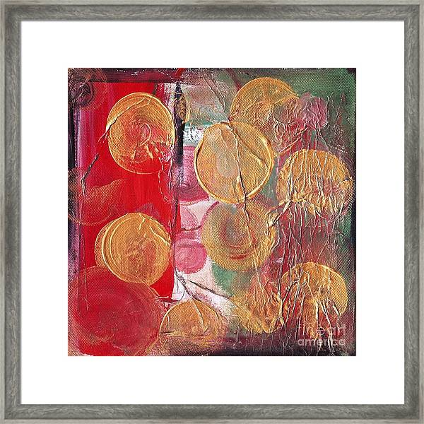 Golden Circles On Red And Green Framed Print