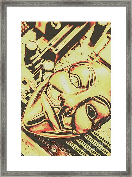Golden Cyber Rebellion Framed Print