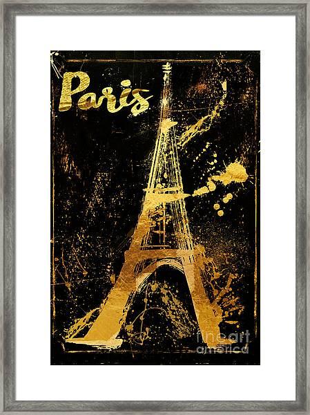 Golden Eiffel Tower Paris Framed Print