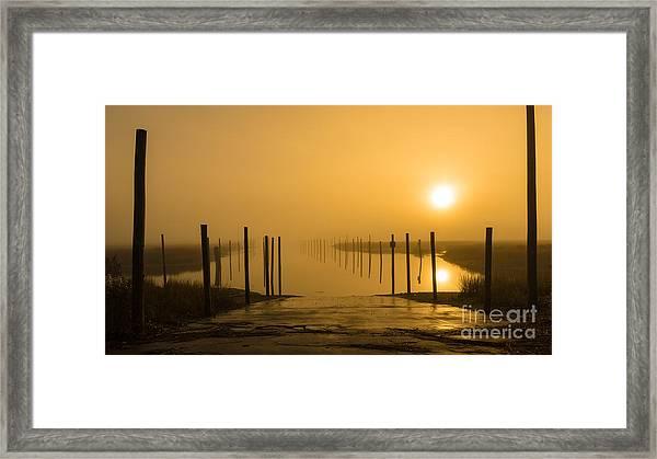 Golden Fog On The Nissequogue Framed Print
