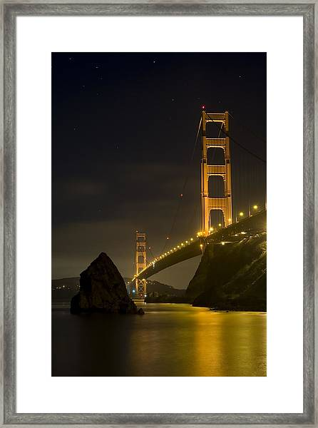 Golden Gate Bridge At Night Framed Print