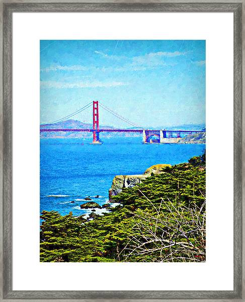 Golden Gate Bridge From The Coastal Trail Framed Print