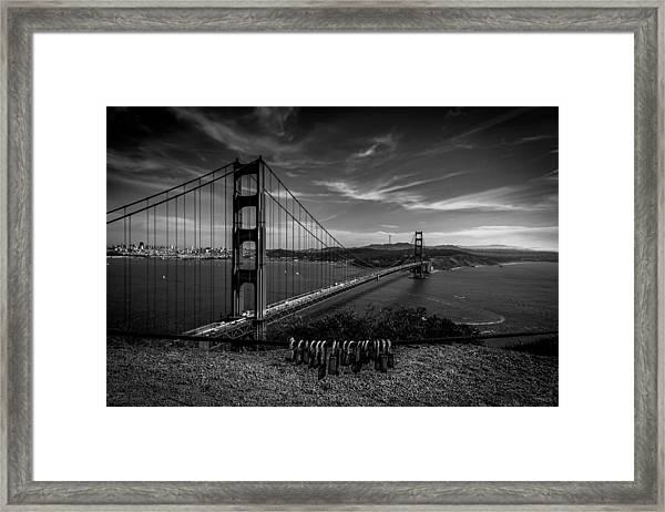 Golden Gate Bridge Locks Of Love Framed Print
