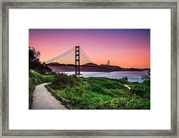 Golden Gate Bridge San Francisco California At Sunset Framed Print