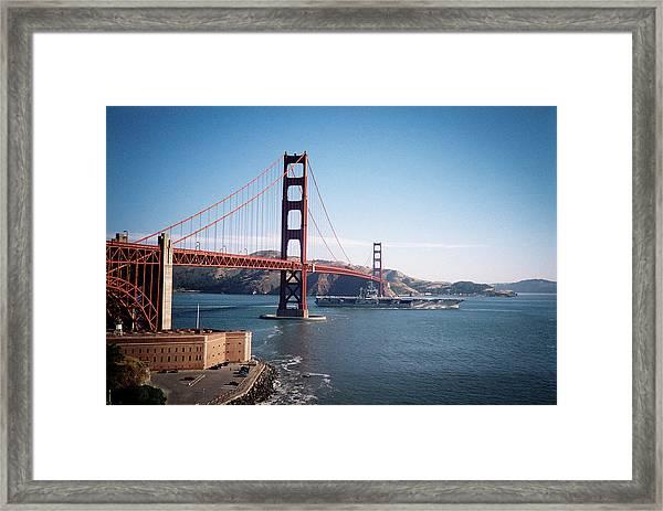 Golden Gate Bridge With Aircraft Carrier Framed Print